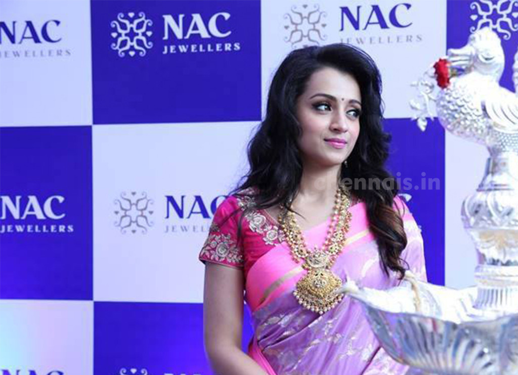 "actress Ms. Trisha Krishnan, said ""I am very happy and excited to launch the three exclusive showrooms of NAC jewellers in Kanchipuram, Perambur and Velachery"